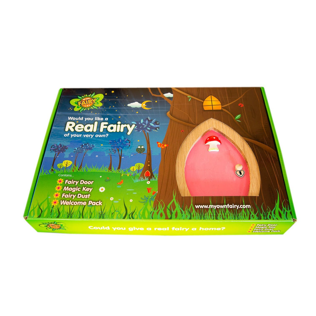 Red Fairy Door with Toadstool, Key and Magic Fairy Dust
