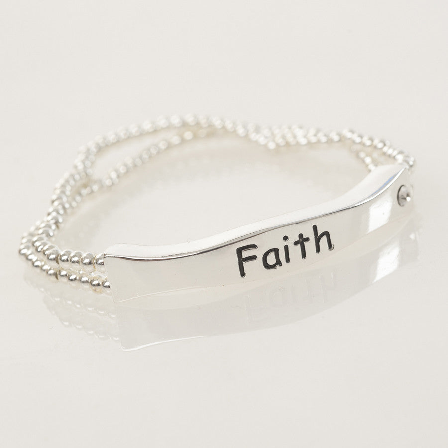 Silver Bead 'Faith' Sentiment Stretch Bracelet