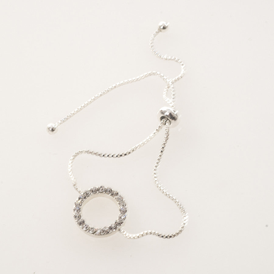 Silver Crystal Disc Charm Friendship Bracelet