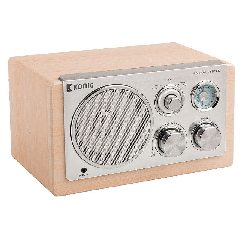 Konig Retro Table Radio AM/FM Light Wood