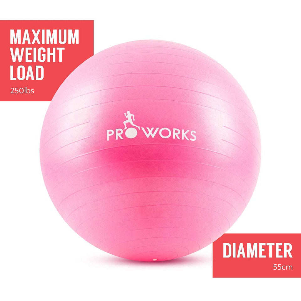 Proworks Anti-Burst Exercise Ball 55cm with Pump (Pink)