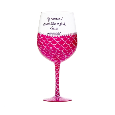 Mermaid Wine Glass Pink by AddCore