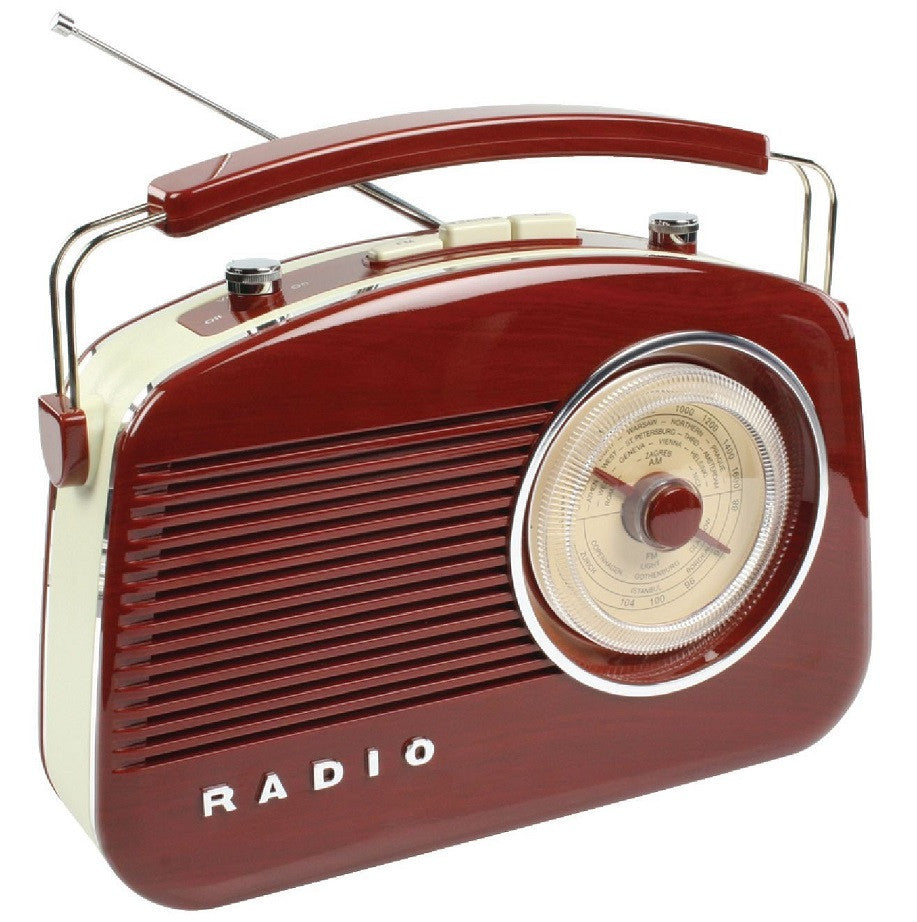 Konig Retro Style AM/FM Radio - Gloss Brown