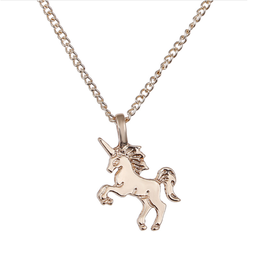 Magical Unicorn Pendant Necklace Rose Gold