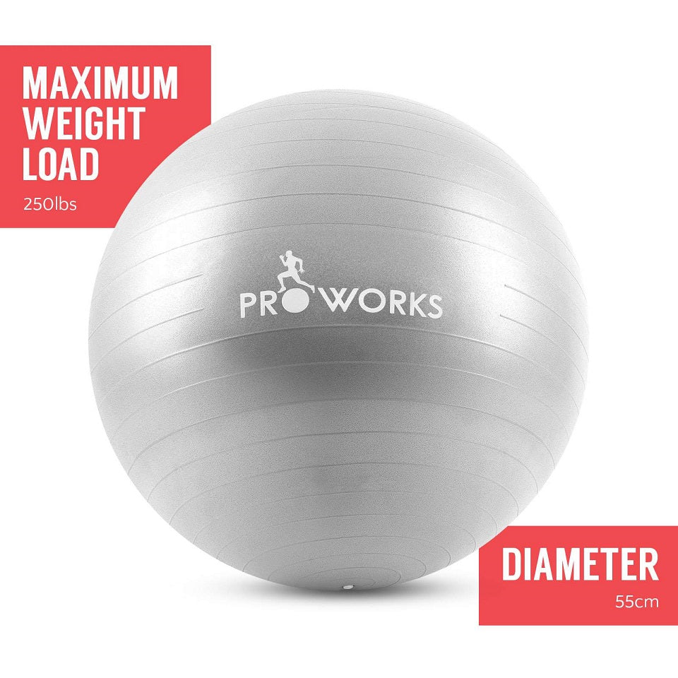 Proworks Anti-Burst Exercise Ball 55cm with Pump (Silver)