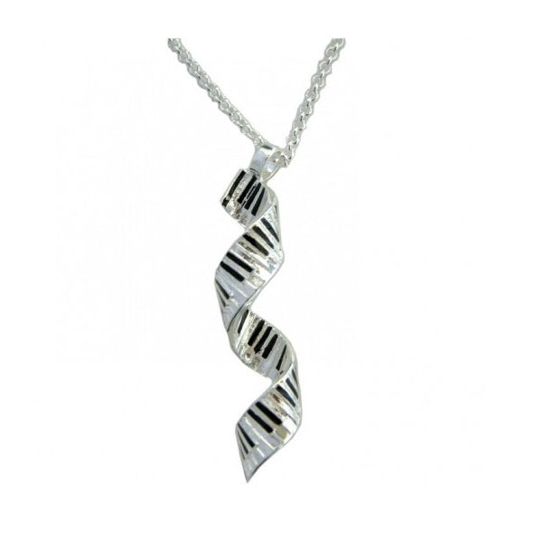 Spiral Keyboard Silver Plated Pendant Necklace