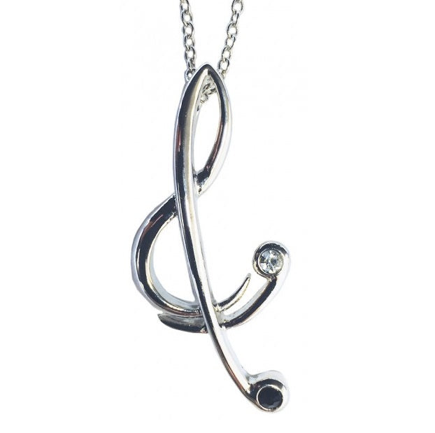 Treble Clef Silver Plated Pendant Necklace