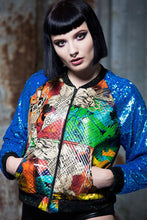 Load image into Gallery viewer, Galaxy Bomber Jacket with Blue Sequin Arms - Jacket - Megan Crook