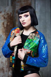 Galaxy Bomber Jacket with Blue Sequin Arms - Jacket - Megan Crook