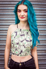 Load image into Gallery viewer, Cross Back Halter in Cash Money Print - Top - Megan Crook