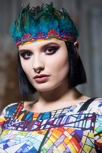 Feather Headdress in Teal - Accessories - Megan Crook