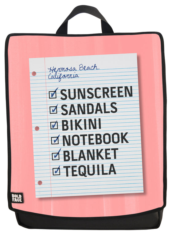 Beach Day Checklist Backpack Face Panel