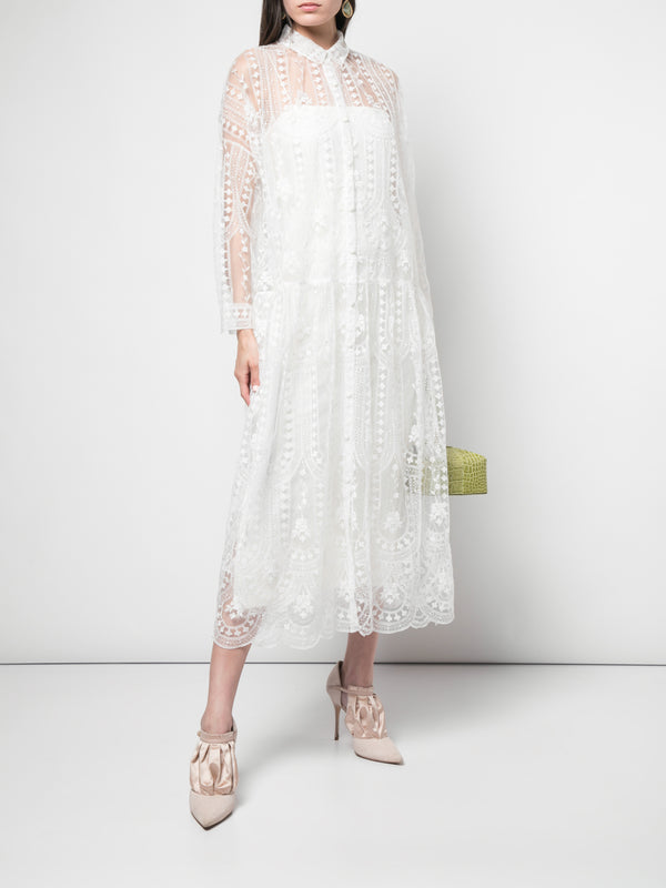 EMBROIDERED TULLE SHIRTDRESS