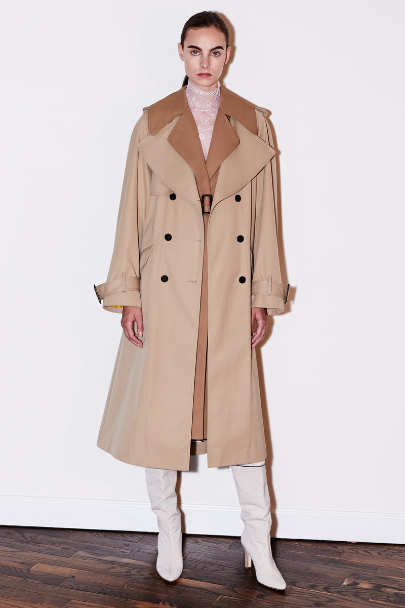 COTTON TRENCH COAT WITH VEST AND REMOVABLE FRINGE