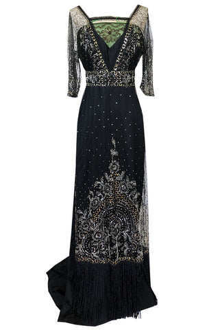 c.1910 Toutmain Paris Hand Beaded & Sequin Black Silk & Net Trained Gown