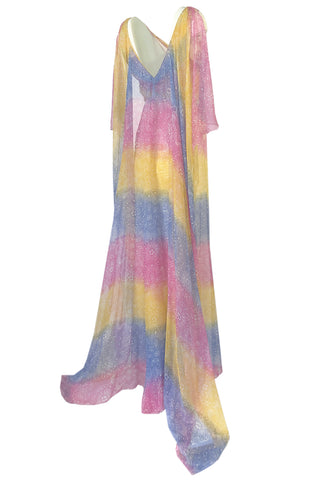 1990s Christian Dior Pastel Rainbow Silk Chiffon Caped Back Goddess Dress