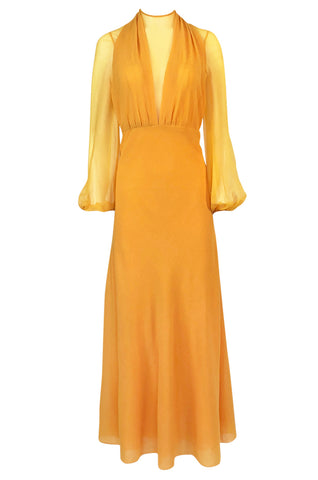 1970s James Galanos Couture Deep Yellow Silk & Chiffon Plunge Dress