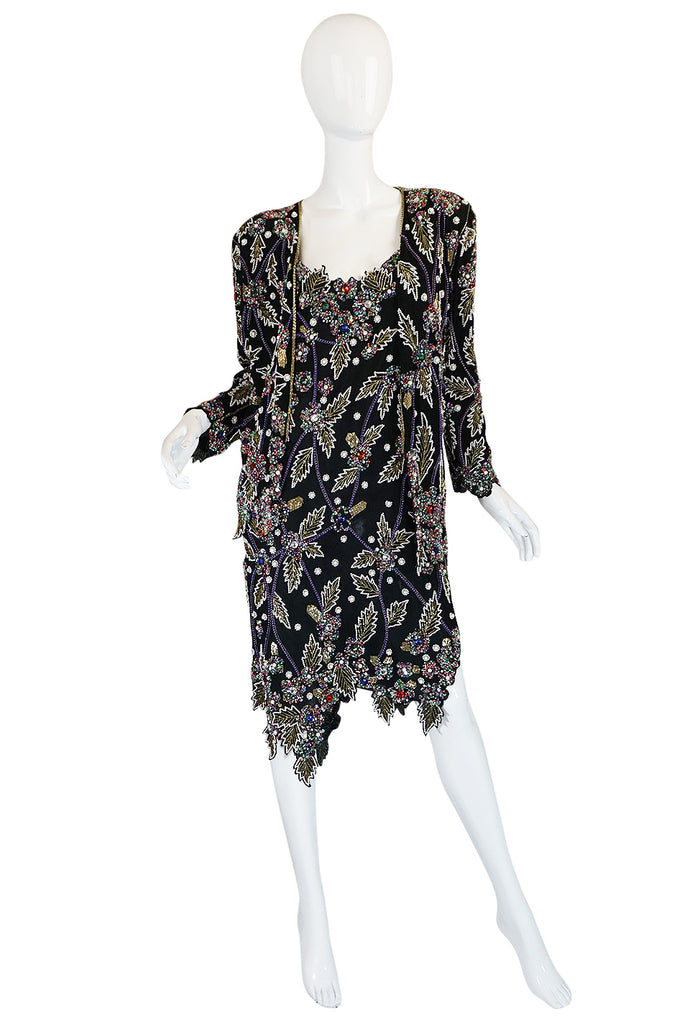 1980s Halston Densely Beaded & Crystal Black Dress & Jacket