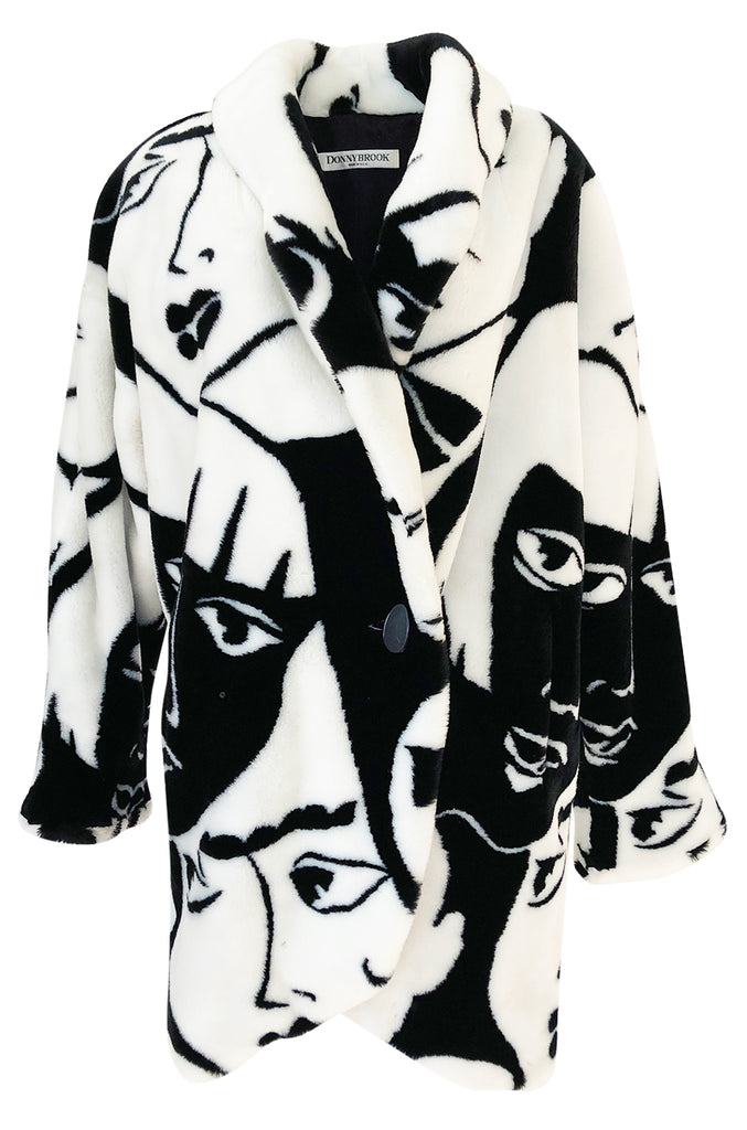 1980s Donnybrook Graphic Black & White Face Print Faux Fur Coat