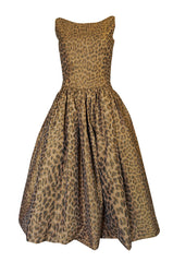 Documented 2003 Oscar de la Renta Silk Leopard Print Dress