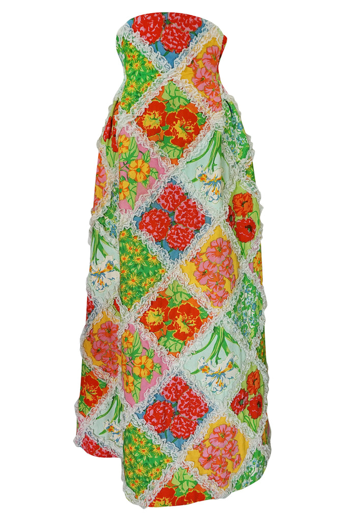 c.1964-69 Arnold Scaasi Couture Floral Patchwork & Lace Corset Skirt