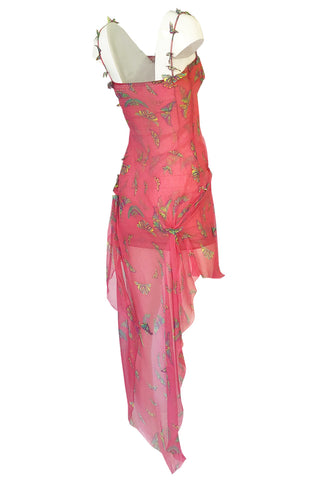 c1995-1997 Gianni Versace Couture Silk Chiffon Butterfly & Crystal Dress