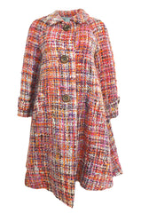 Early 1960s Christian Dior Pink & Coral Textured Weave Boucle Swing Coat