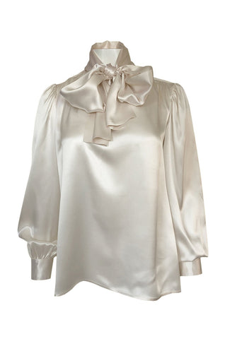 Luxurious 1970s Yves Saint Laurent Ivory Cream Silk Satin Tie Top Blouse