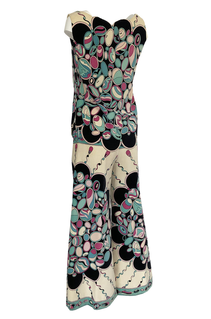 1960s Emilio Pucci Scalloped Edge Tunic & Wide Pant Printed Velvet Set