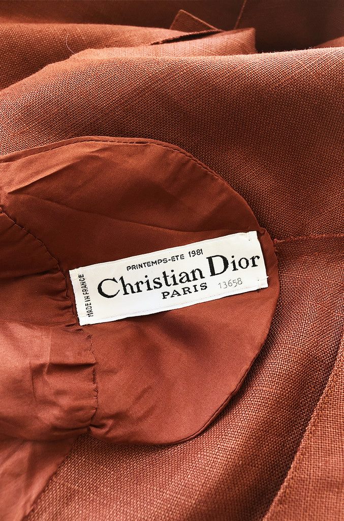 Spring 1981 Christian Dior by Marc Bohan Haute Couture Ochre Linen Jacket