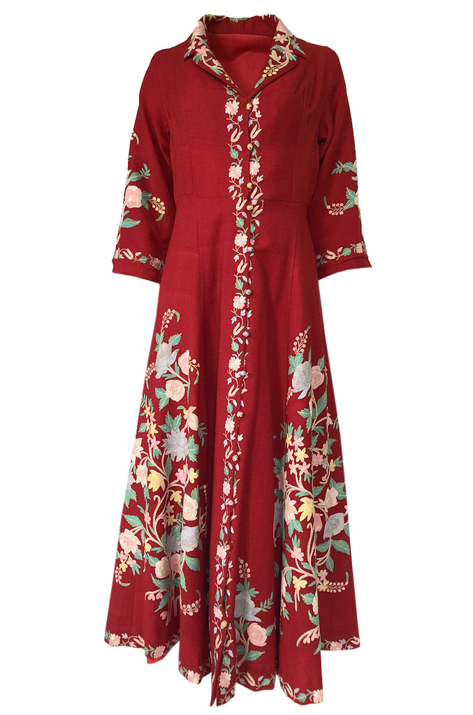 Exceptional 1930s Hand Embroidered Floral Crewel Red Dress or Coat