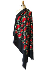 Huge Vintage Yves Saint Laurent Silk Red Rose Print Black Scarf