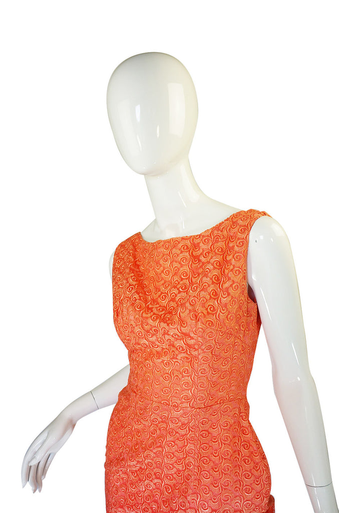 Amazing 1950s Peach Lace Wiggle Dress