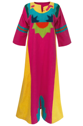 1960s Josefa Vibrant Pink and Primary Color Cotton Caftan Dress
