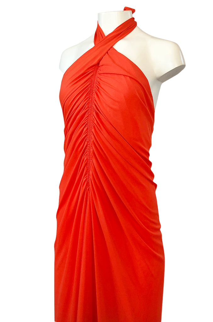 1970s Frank Usher Gathered Halter Backless Coral Jersey Dress