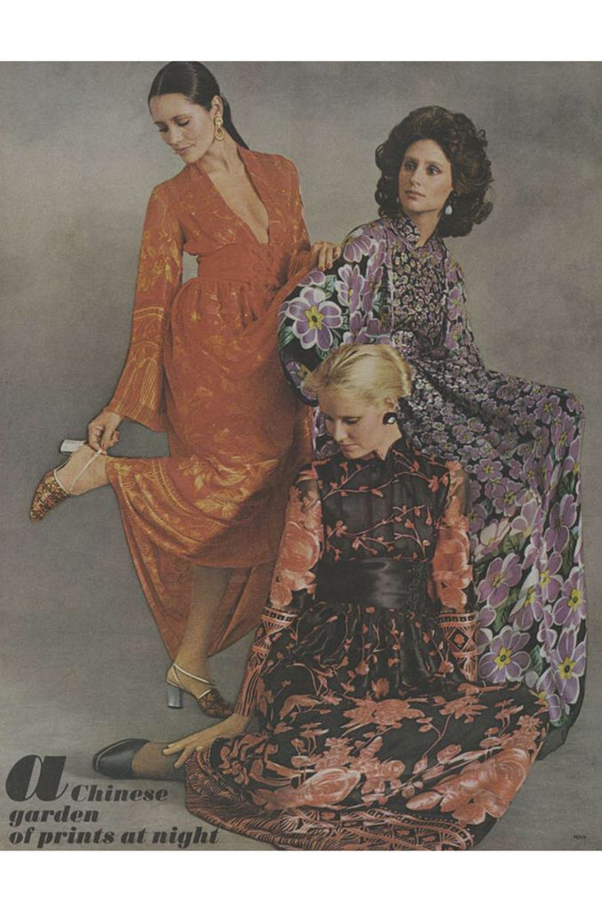 Documented 1972 Oscar de la Renta Silk Kimono Dress