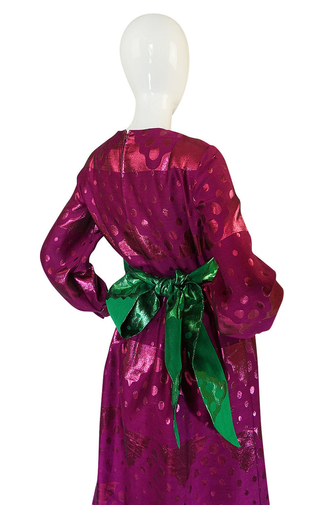 1960s Oscar de la Renta Metallic Dot Dress with Green Sash