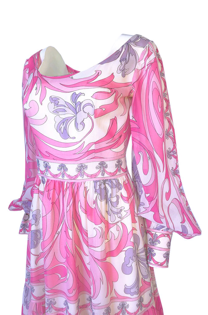 1960s Emilio Pucci Pretty Pink Print Silk Chiffon Tiered Skirted Maxi Dress