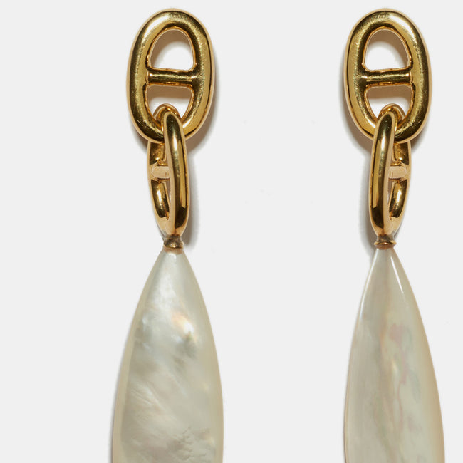 Lizzie Fortunato Grotto Drop Earrings with gold plated brass and pearl are great earrings for chic costume statement jewelry - Collyer's Mansion