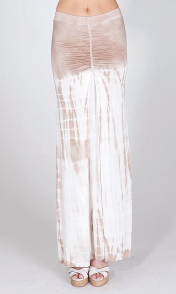 RUCHED TIE DYE MAXI SKIRT
