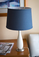 0-004087>Penelope Beige Table Lamp with Navy Blue Drum Shade