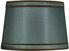 0-003279>13x15x10 Petite Green with Brown Piping Modified Barrel Lamp Shade