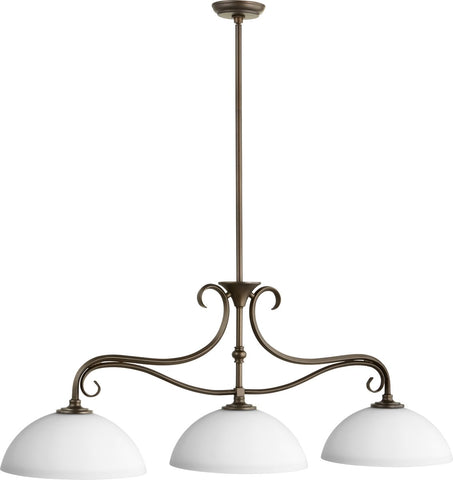 0-001610>Powell 3-light Kitchen Island Light Oiled Bronze w/ Satin Opal
