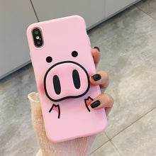 Load image into Gallery viewer, Squishy Cute Cartoon Pig Phone Case For iPhone
