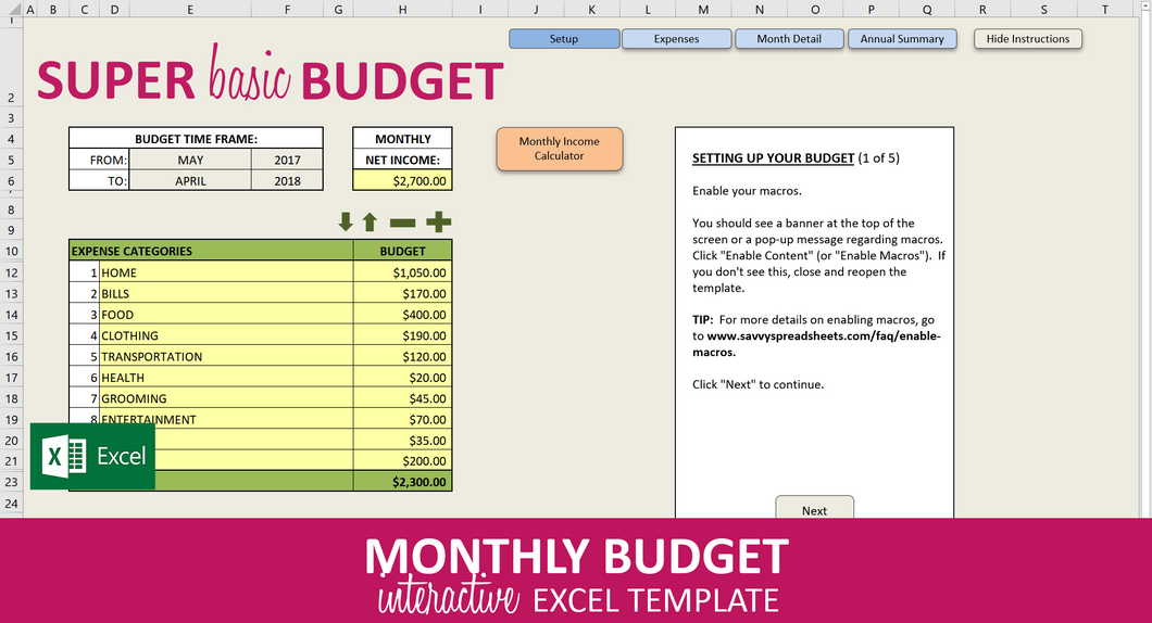 Super Basic Budget - Excel Template