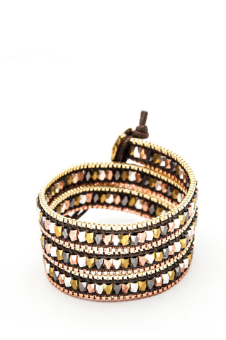 Wrap Bracelet - Black Leather Cord | Gold & Copper Chain | Metal Beads - Filosophy
