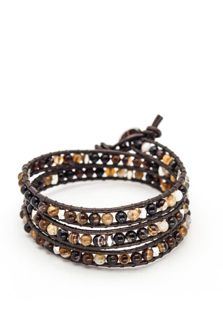 Wrap Bracelet - Dark Brown Leather Cord | Brown Agate Stone - Filosophy