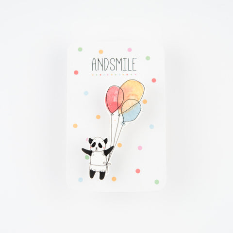 And Smile Studio Brooch - Panda With Balloons