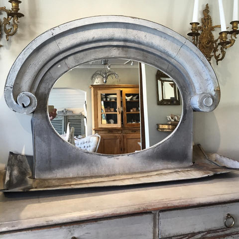 "Gorgeous Antique Zinc ""Bulls Eye""/Oeil de bouef Mirror - Decorative Antiques UK  - 1"