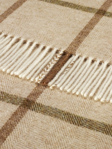 Beige Natural Windowpane Shetland Wool Throw Blanket - Decorative Antiques UK  - 1